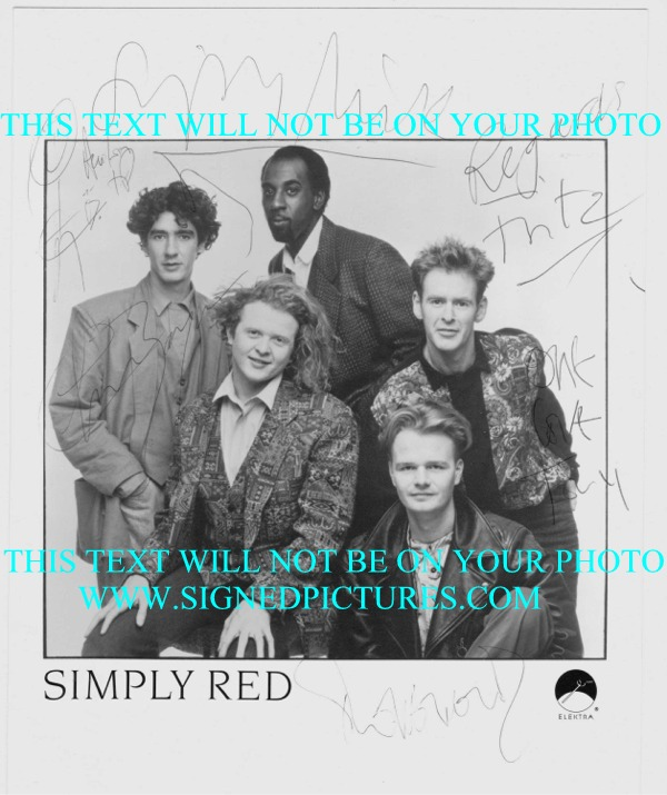 SIMPLY RED AUTOGRAPHED PHOTO, SIMPLY RED SIGNED 8x10 PHOTO, SIMPLY RED AUTOGRAMME, SIMPLY RED BAND